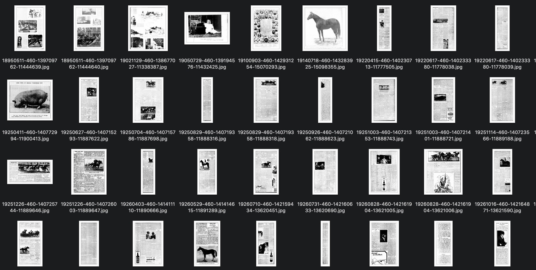 Thumbnails of newspaper articles saved as images