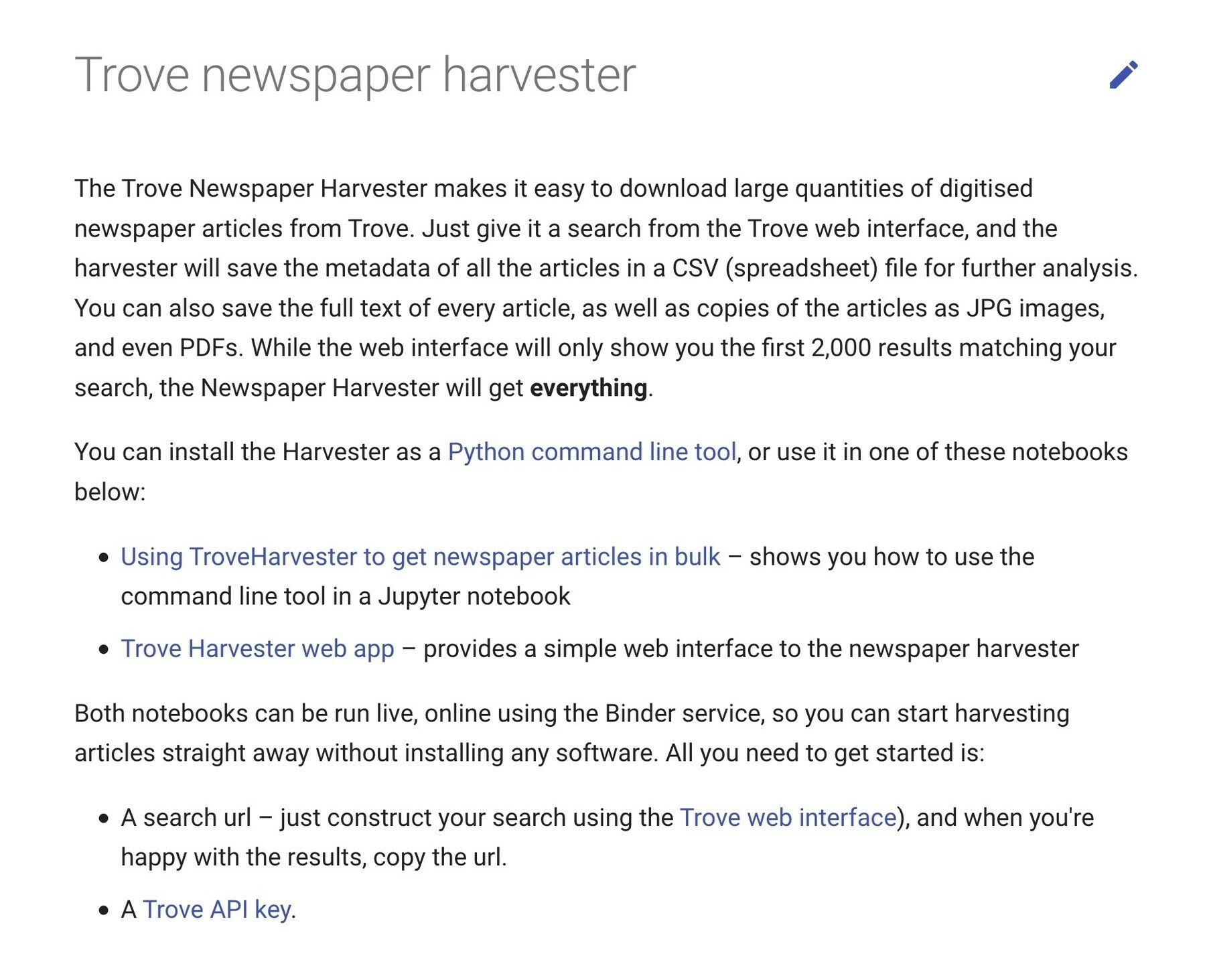 Screenshot of Trove Harvester page in GLAM Workbench