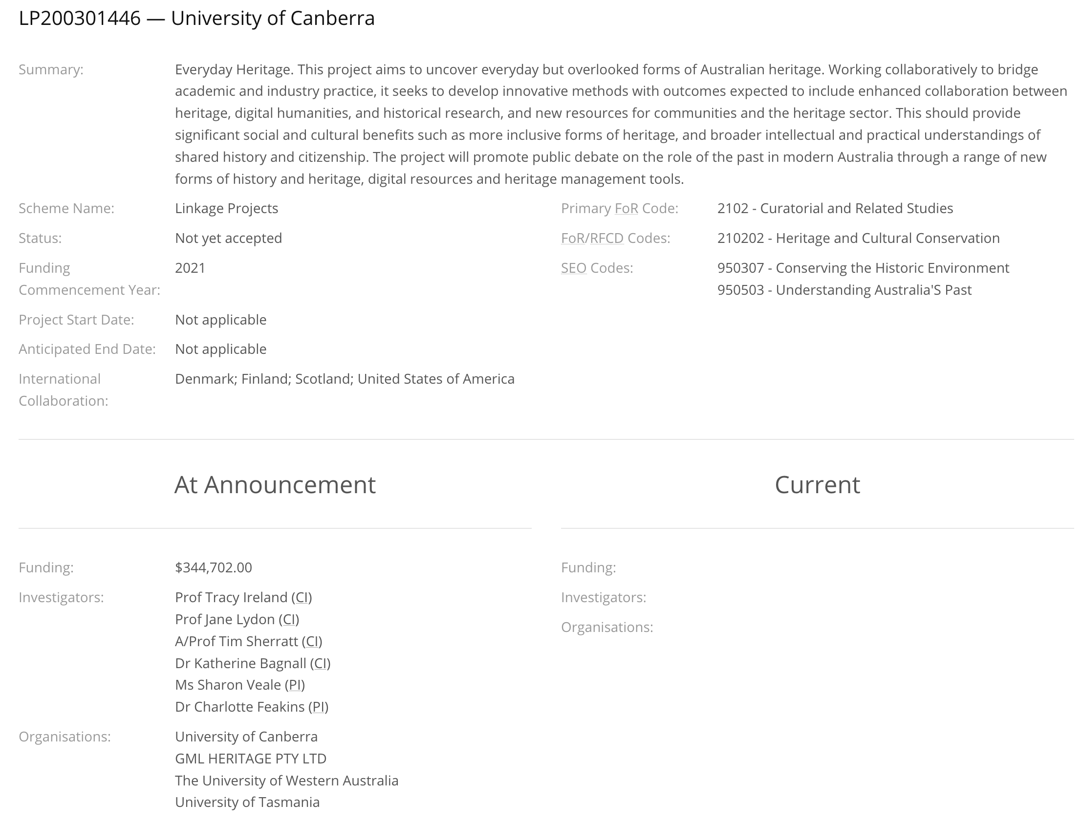 Screen capture of project details in ARC grants database